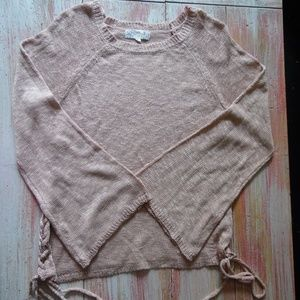 Blush Pink, Side Lace-Up Pullover w/ Bell Sleeves